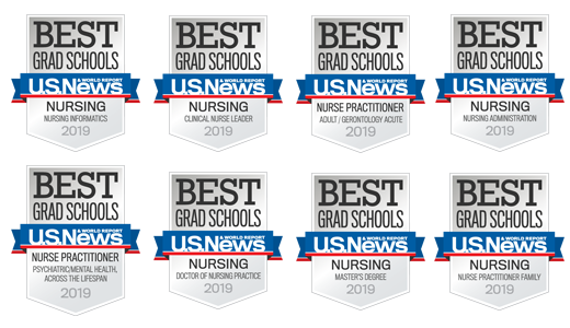 Eight U.S. News 2019 Ranking Badges: Nursing - Nursing Informatics, Nursing - Clinical Nurse Leader, Nurse Practitioner - Adult/Gerontology Acute, Nursing - Nursing Administration, Nurse Practitioner - Psychiatric/Mental health Across the Lifespan, Nursing - Doctor of Nursing Practice, Nursing - Master's Degree, and Nursing - Nurse Practitioner Family
