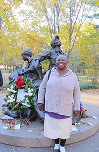 INEP participant Ruby Burgess (Guyana) at the Vietnam Women's Memorial in Washington, D.C.