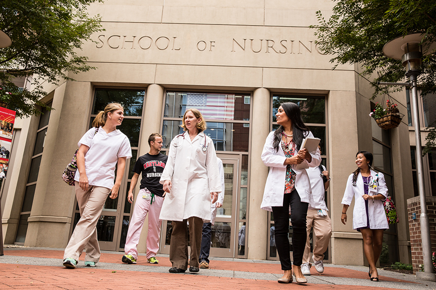 image of students walking outside of the University of Maryland School of Nursing