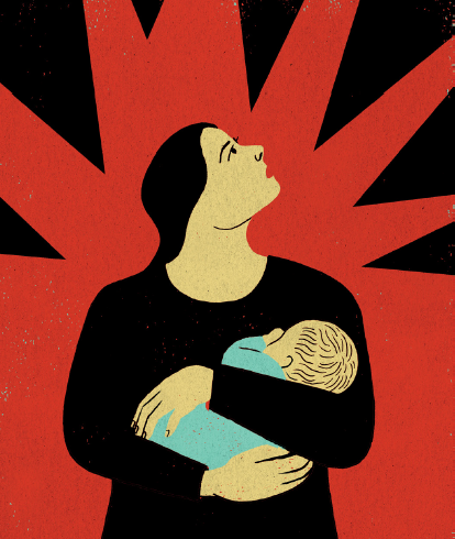 conceptual illustration of a mother with child and signs of danger in the background