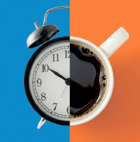 conceptual illustration of an alarm clock and a coffee mug intersecting