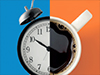 conceptual image of an alarm clock and a coffee mug intersecting